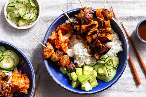Korean rice bowls with sticky-sweet BBQ chicken skewers