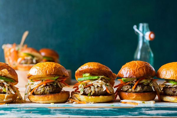 Saigon beef sliders with carrot-cabbage slaw and avocado