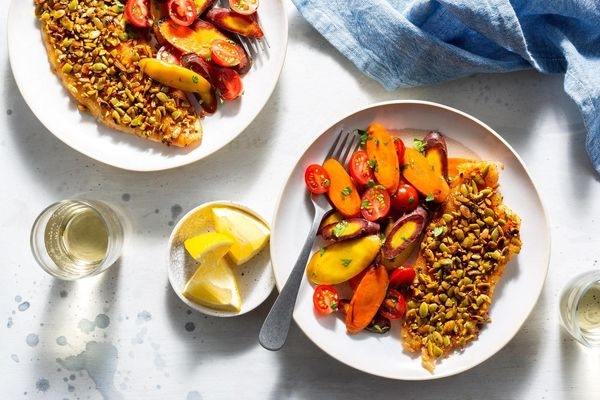 Pumpkin seed–crusted sole with warm carrot salad