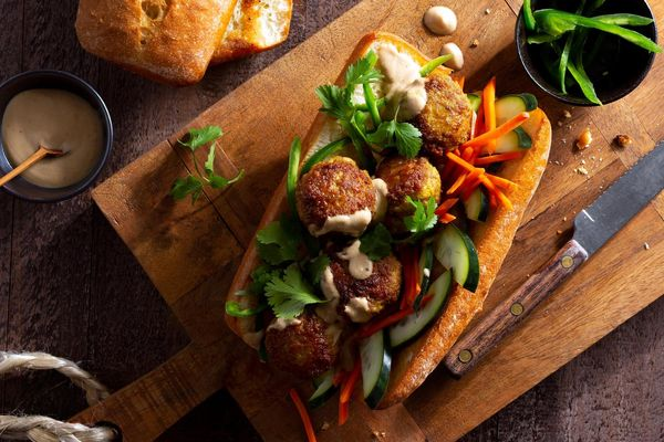 Lemongrass pork meatball banh mi