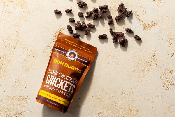 Dark chocolate crickets with amaranth seeds
