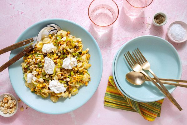 Orecchiette with corn, hazelnuts, and ricotta