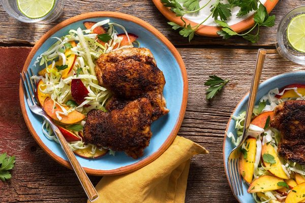 Spicy jerk chicken with gingered peach slaw