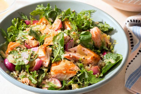 Simple salmon salad with quinoa, dill, and Dijon dressing