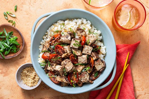Braised tofu and shiitake stir-fry with black bean sauce over rice
