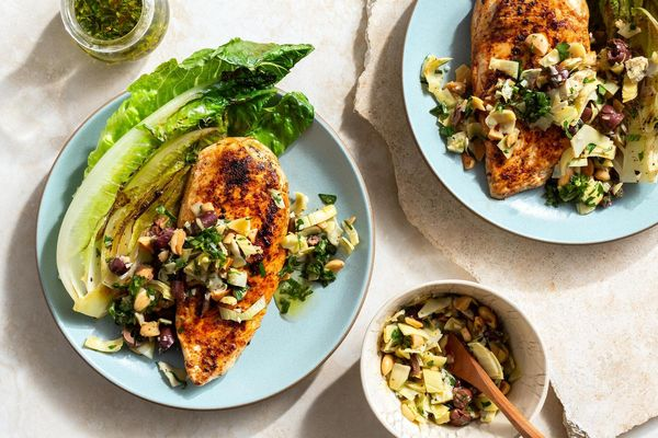 Harissa-rubbed chicken with artichoke tapenade and seared lettuce