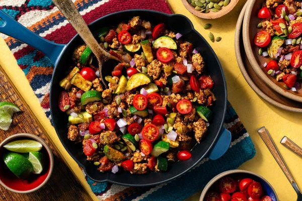 Tex-Mex turkey skillet with green chiles and tomatoes