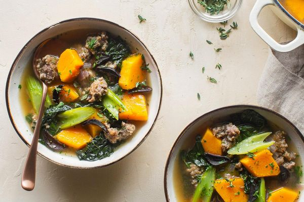 Italian sausage and kale soup with butternut squash and black garlic