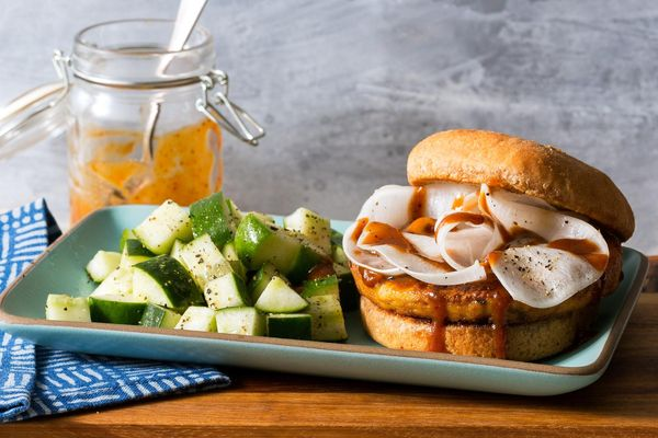 Korean BBQ tofu burgers with pickled turnips and cucumber salad