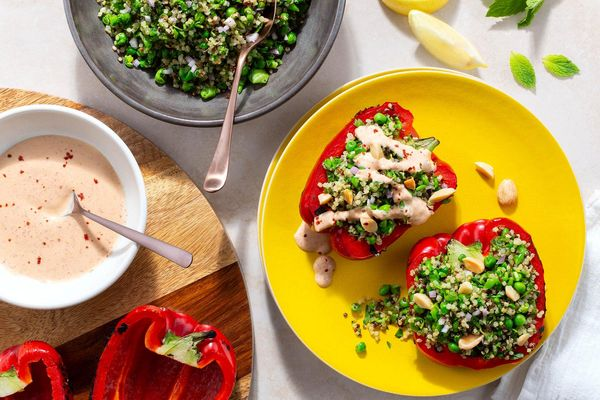 Quinoa tabbouleh with smashed peas and tahini-yogurt dressing