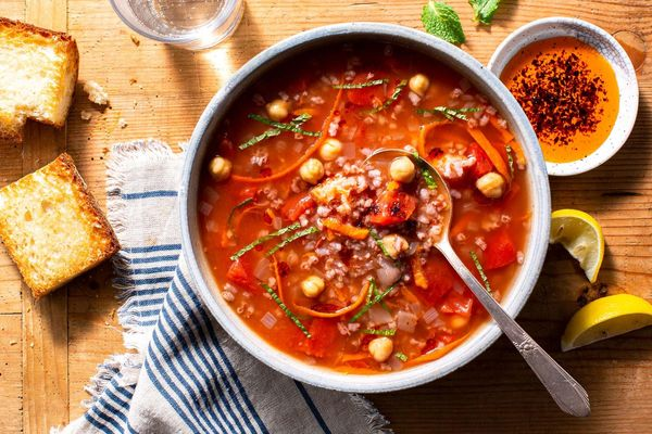 Turkish vegetable soup with chickpeas and red rice