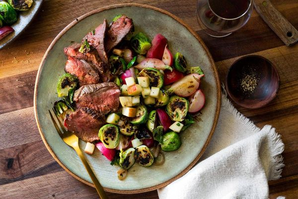 Steaks with balsamic-glazed radishes and Brussels sprouts