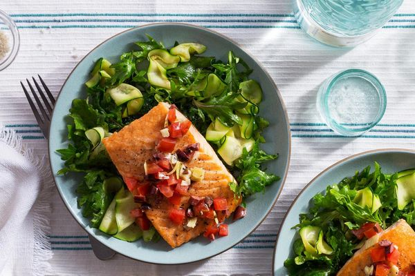Greek Islands salmon over zucchini noodles and wilted greens