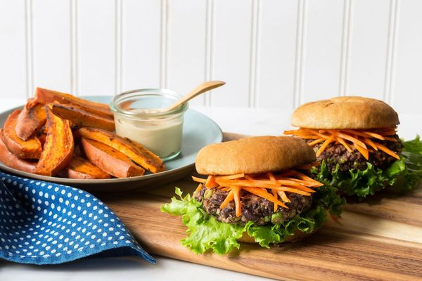 Black bean–quinoa burgers with sweet potato fries