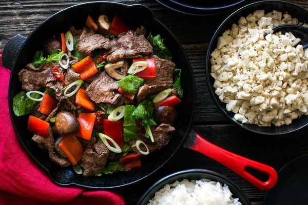 Chinese five-spice steak stir-fry with rice two ways