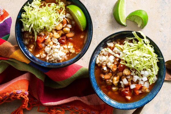 Pinto bean and hominy pozole rojo with queso fresco