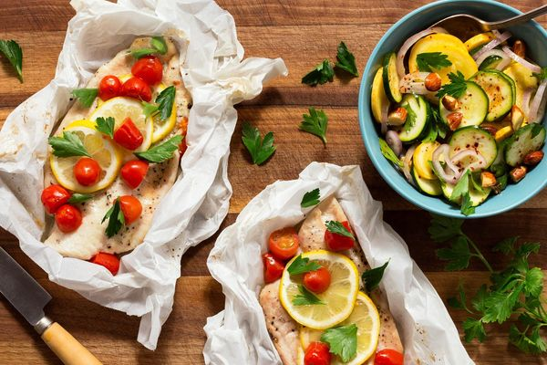 Sole in parchment and summer squash salad with roasted almonds