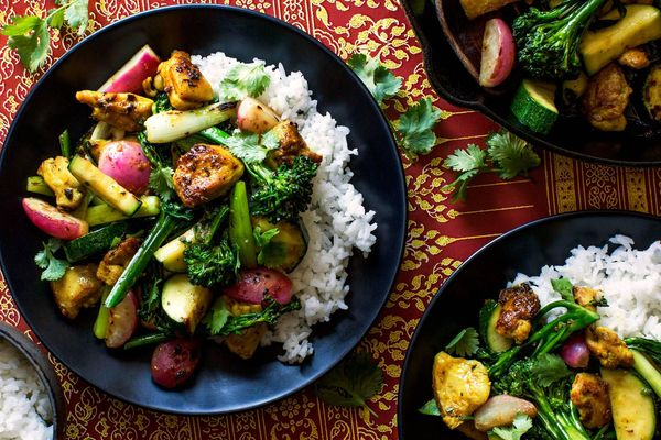 Lemongrass chicken stir-fry with baby broccoli and jasmine rice