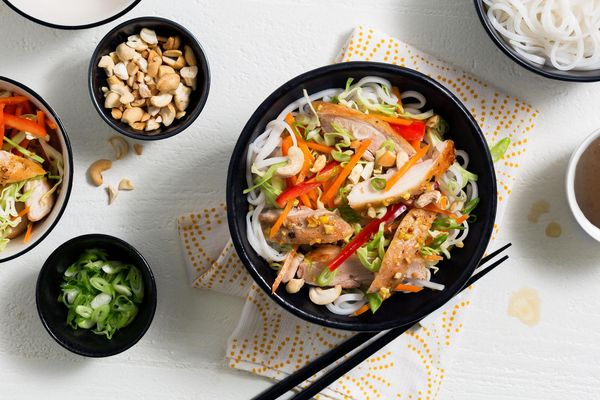 "Chinese chicken salad with rice noodles and ""creamy"" sesame dressing"