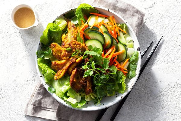 Lemongrass chicken salad with quick pickles and sesame-miso dressing