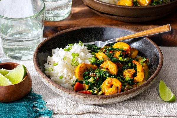 Sazon-spiced shrimp in coconut sauce with jasmine rice
