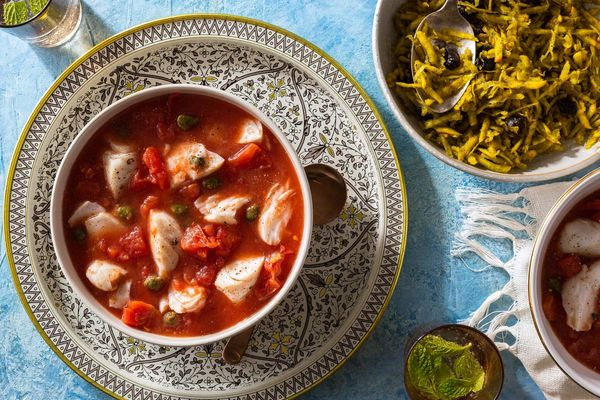 Tomato-braised cod with tangy beet and dried plum salad