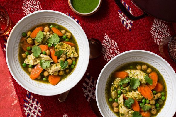 North African chicken stew with chickpeas, carrots, and chermoula