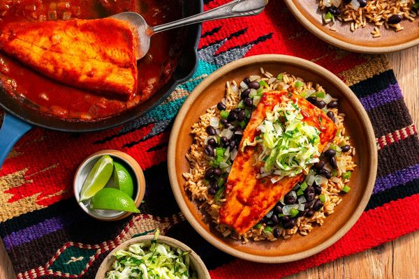 "Southwestern-simmered sustainably farmed trout with ""dirty"" rice"