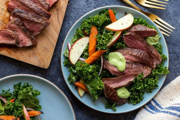 Green goddess steak salad with kale and roasted carrots