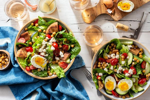 Fattoush salad with soft-cooked eggs and za'atar-spiced chickpeas