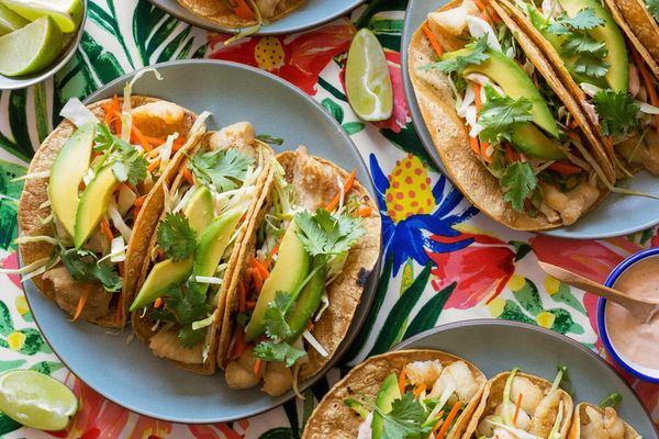 Surfer-style fish tacos with lime yogurt and cabbage slaw