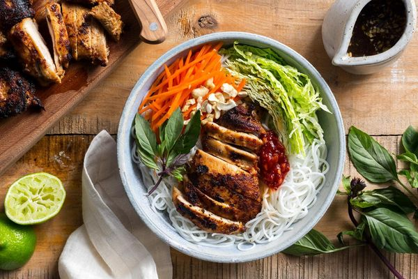 Saigon chicken vermicelli bowls with pickled carrots and nuoc cham dressing