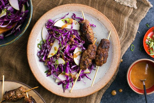 Korean beef skewers with apple-cabbage slaw