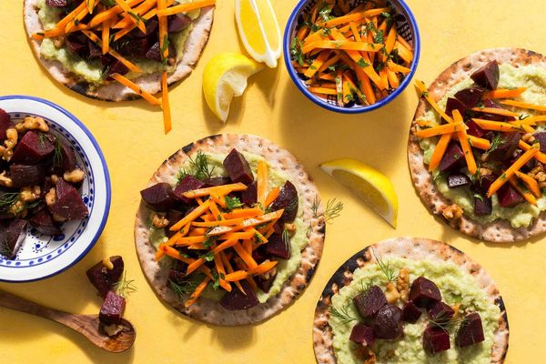 Mediterranean flatbreads with beet salad and skordalia