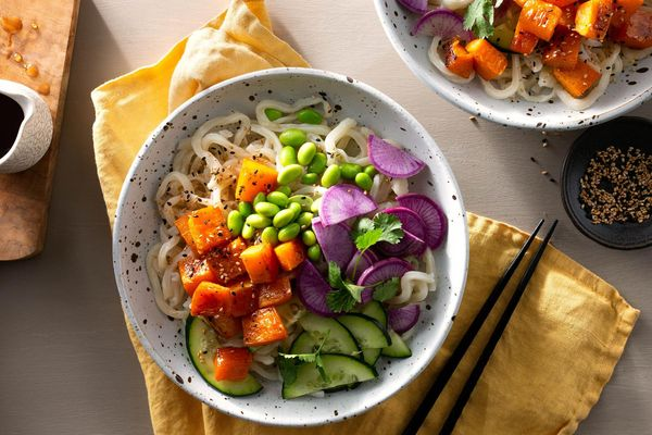 Tokyo udon noodle bowls with roasted butternut squash and edamame