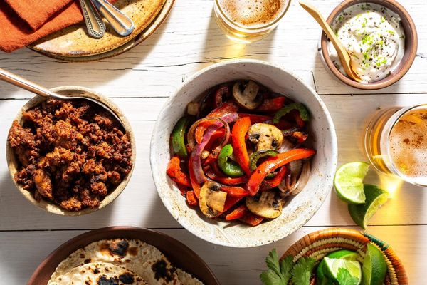 Chorizo fajitas with charred mushrooms and lime yogurt
