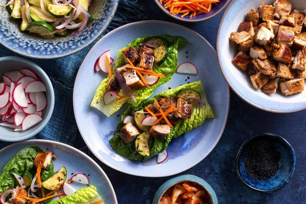 Korean BBQ chicken lettuce cups with kimchi