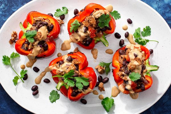 """Chiles rellenos"" with turkey, black beans, and vegan cheese"