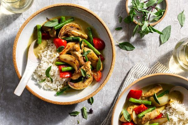 Spicy Thai green chicken curry with jasmine rice