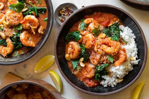 Tomato-coconut shrimp with spinach and white rice
