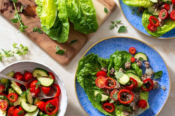 Greek lettuce cups with lamb and mini sweet peppers