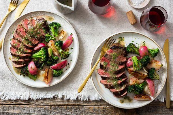 Steaks with bagna càuda, broccoli, and radishes