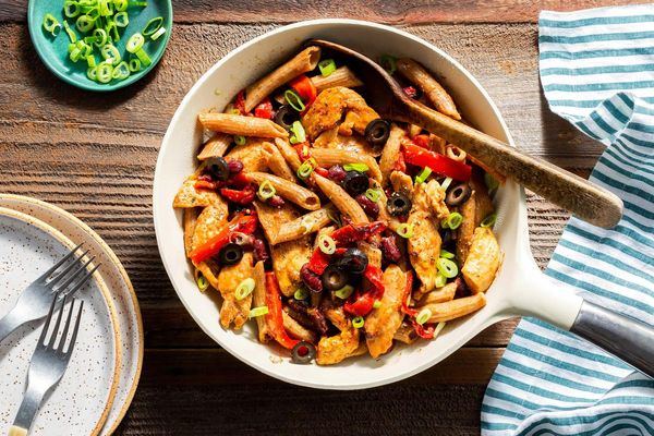 Chicken fajita skillet with roasted red peppers and penne pasta