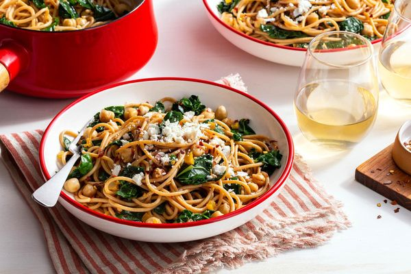 Spaghetti with chickpeas, kale, and preserved lemon