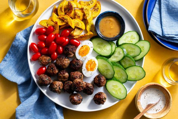Mediterranean meze platter with lamb meatballs and tzatziki