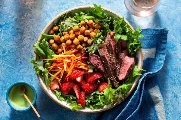 Summer steak salad with strawberries and spiced chickpeas