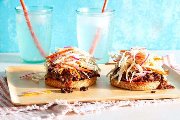Open-faced lentil sloppy joes on whole wheat buns with coleslaw