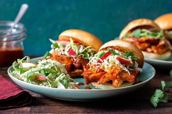Spicy barbacoa chicken sliders with cabbage-apple slaw