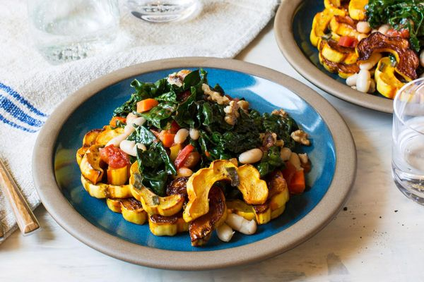 Pan-roasted delicata squash with sage, white beans, and kale