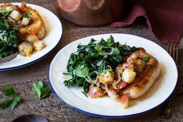 Pork chops with pear mostarda and wilted kale